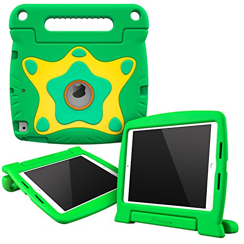 (iPad Air 1/2/Pro 9.7 and 2017/2018 9.7 rooCASE ORB 360 Starglow Kid Friendly Drop Shock Proof Protective Lightweight Tough Armor Case Cover Convertible Carrying Handle Stand - Green)