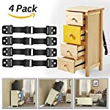 #6: Dwarm Furniture Anchor Straps / TV Straps Safety & 4 Child Safety Lock for Baby Safety ( 4 Pack TV Anti Tip Strap )