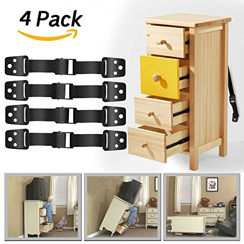 Price comparison product image Dwarm Furniture Anchor Straps / TV Straps Safety & 4 Child Safety Lock for Baby Safety ( 4 Pack TV Anti Tip Strap )