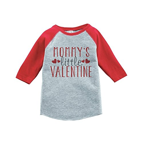 7 ate 9 Apparel Boy's Mommy's Little Valentine Toddler Vintage Baseball Tee 2T Red Grey