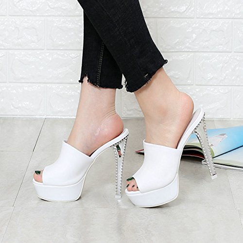 38 Word Leather Fine Mop white Waterproof Cold Table Comfortable Fashion Shoes Heel Face KPHY One Slippers Soft High Personalized Sandals Cowhide Heeled EIRAqB