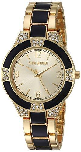 Steve Madden Women's Quartz Metal and Alloy Casual Watch Color:Two Tone (Model: SMW097G-BK) [並行輸入品] B078B7XVD3