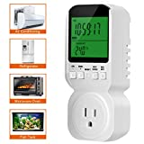 Timer Outlet, Digital Programmable 20 Groups, Countdown Random Timing, Heat/Cold Mode, Temperature Probe Digital Clock LCD Display ON/OFF Control for Electrical Appliances Energy Saving