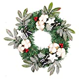 Artificial Flower Wreath Series,Outsta Round Wreath Wall Ornament Halloween Christmas Thanksgiving Decoration for The Front Door, Home Décor (Red Fruit Kapok-13.7Inches)