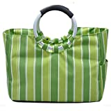 Brooke & Celine Ice Tote Cooler Bag Green Stripes Foldable Green