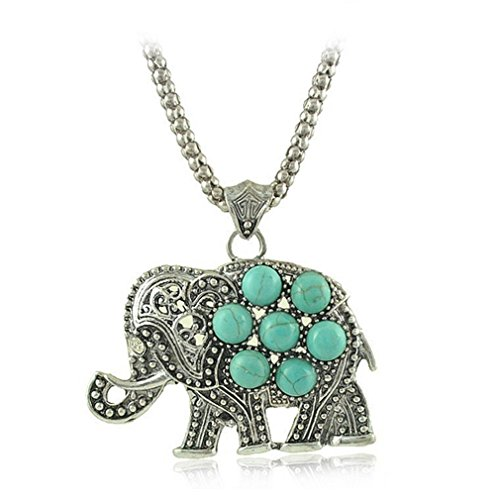 G&T Lady Retro Elephant Turquoise Necklace Long Sweater Chain Necklace (Simple Homemade Frog Costume)