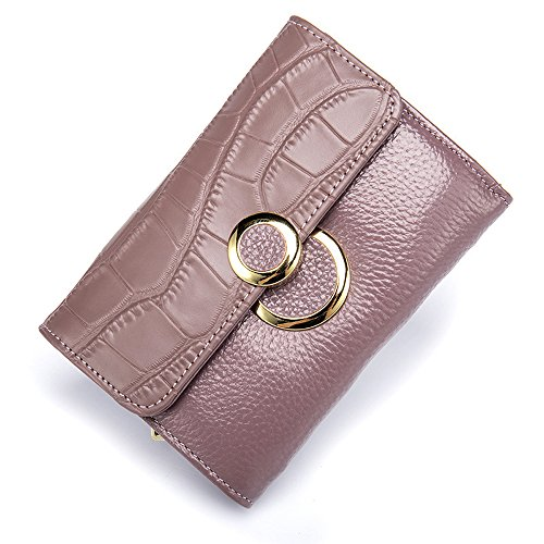 TACOO Women Genuine Leather Crocodile Pattern Lady Short Purple Wallet Fashion Durable Card Money Holder - Fake Military Sale Cards Id