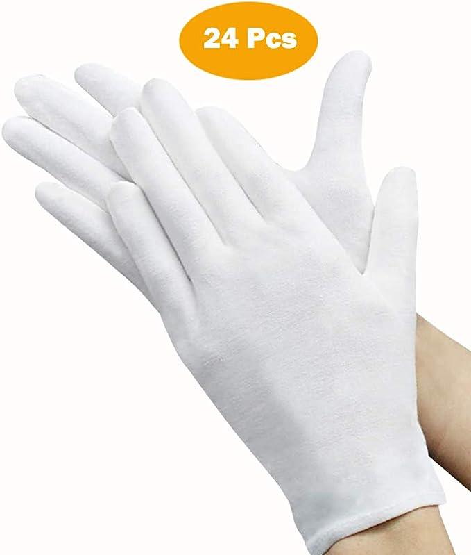 Andton - 12 pares de guantes blancos, algodón, guantes de tela, guantes de algodón, cómodos y transpirables, para el cuidado de la piel, joyas, buscar trabajo, trabajo diario, etc. (talla: XL): Amazon.es: