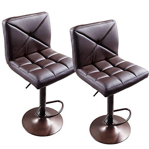 GHP 2-Pcs Brown Iron PU & Density Board Crossover Design Adjustable Height Bar Stools