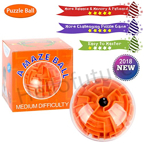 Mini 3D Magic Maze Puzzle Ball Cube Game Globe Sphere Bulk Labyrinth Toys Brain Teaser Game Learning Education Puzzle Toys Gifts (Medium difficulty)