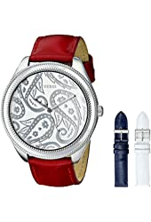 GUESS Women's U0509L1 Trendy Interchangeable Boxed Watch Set with Red, White & Blue Patent Straps