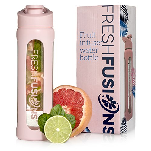 Fresh Fusions Glass Fruit Infuser Water Bottle - 20 oz - With Protector Sleeve + Recipe Ebook - Includes 25 Infused Water Recipes