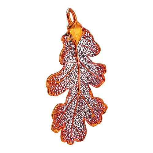 Gem Avenue Iridescent Copper Plated Real Lacy Oak Leaf Pendant