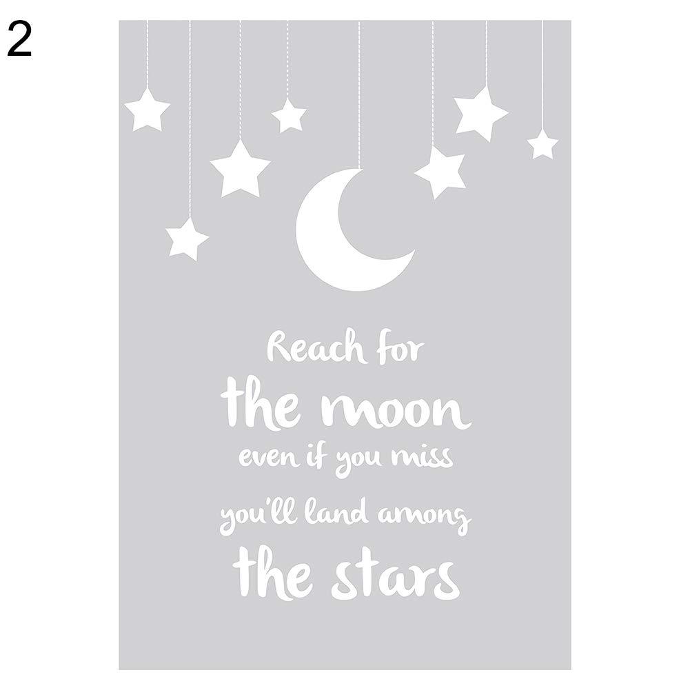 dds5391 Elegant Nordic Cartoon Star Moon Canvas Painting Wall Art Picture Nursery Room Decor - 2# 2130cm
