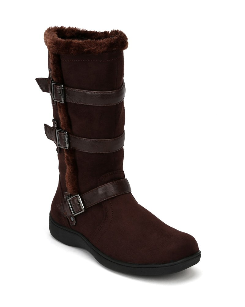 Little Angel Winter-722E Suede Fur Accent Buckle Strap Riding Boot (Little Girl/Big Girl) AF22 - Brown (Size: Little Kid 11) by Little Angel (Image #5)