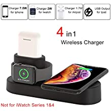 COSOOS Wireless Charger,4 in 1 Qi Wireless Charging Pad Stand,Compatible for iWatch Series 2/3/Nike+/Edition(Not 4&1) Airpods,iPhone XS/XR/X/8/8Plus,Samsung Galaxy S9/S9+/S8+/S7/Note 8,Google Nexus 7