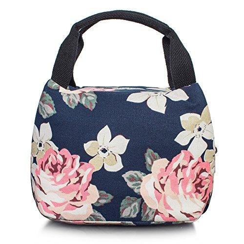 TOPERIN Girls Insulated Lunch Bag Children Cute Lunch Box Tote Bag Dark Blue