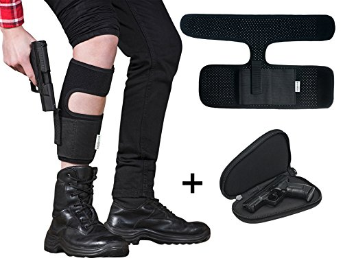 Greentactica Ankle Holster For Concealed Carry With Soft Padded Pistol Case SET | Anti-Slip Neoprene Holster With Extra Mag Pouch | Fits Glock 26 27 42 43, Ruger LCP LC9, S&W Shield, Bodyguard 380 (Pocket Carry Case)
