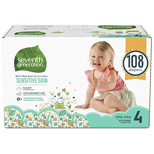 Seventh Generation Baby Diapers for Sensitive Skin, Animal Prints, Size 4, 108 count (Packaging May Vary)