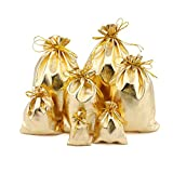 Fashionwu Basic Drawstring Backpack Drawstring Bags Jewelry Earphone Candy Storage Bag 100PCS Golden