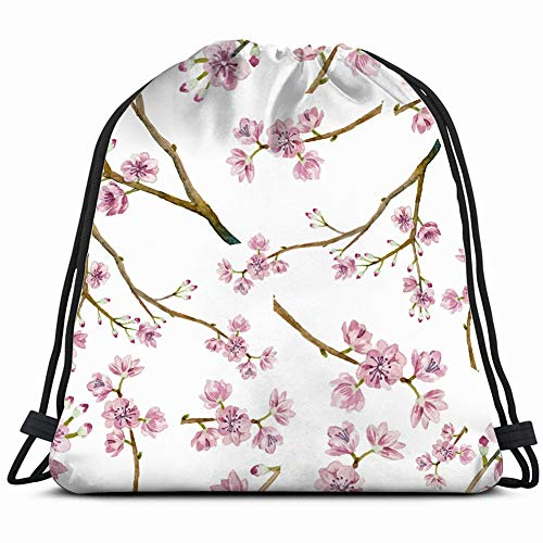 watercolor sakura natural texture nature Drawstring Backpack Gym Sack Lightweight Bag Water Resistant Gym Backpack for Women&Men for Sports,Travelling,Hiking,Camping,Shopping Yoga