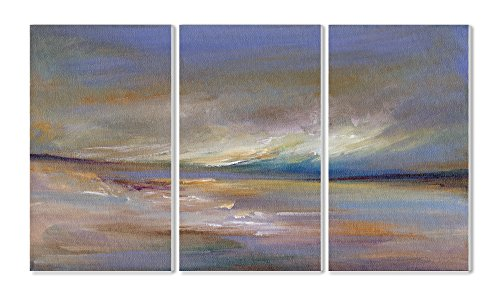 Stupell Home Décor Ocean Horizon 3-Piece Triptych Wall Plaque Set, 11 x 0.5 x 17, Proudly Made in USA made in New England