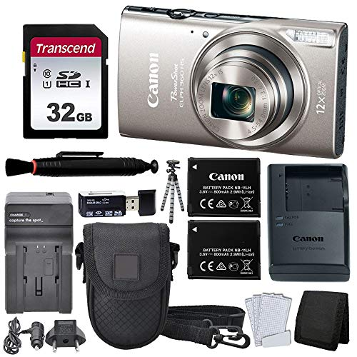 Canon PowerShot ELPH 360 HS Digital Camera (Silver) + Black Point & Shoot Case + AC/DC Travel Charger & Replacement Battery + Transcend 32GB UHS-I U1 SD Memory Card + Top Value Accessories!
