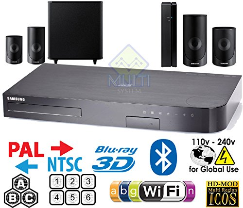 HT-J5500 5.1-Channel Smart Blu-ray Home Theater System - 3D - WI-FI - Multi Zone All Region Blu Ray Disc DVD Player - PAL/NTSC - USB & 6 Feet Multi System HDMI Cable HTC ()