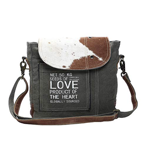 Myra Bag Seeds of Love Upcycled Canvas & Cowhide Shoulder Bag S-1127