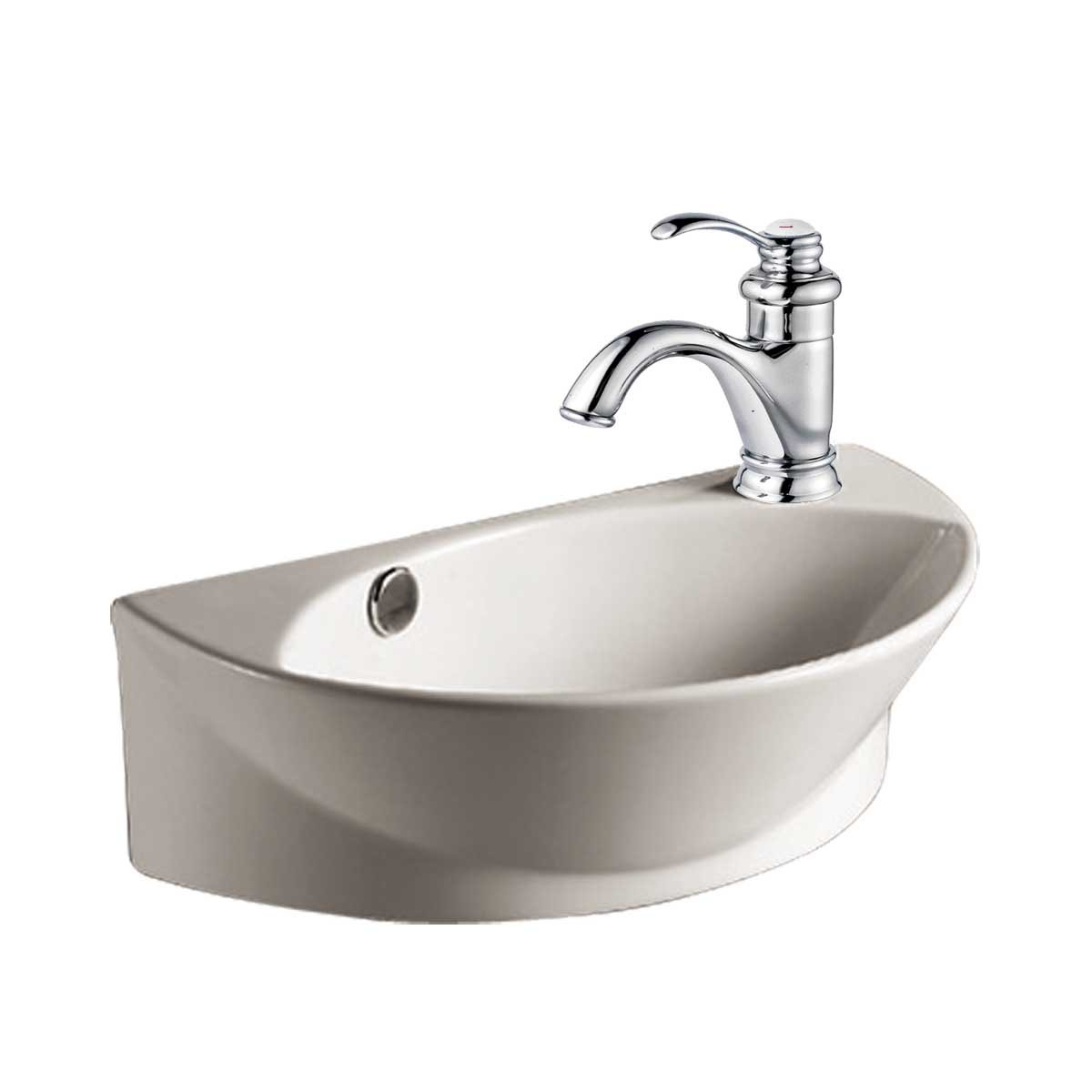 White Small Wall Mount Sink with Single Faucet Hole Overflow ...