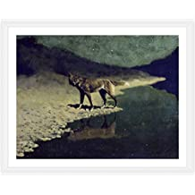 "Alonline Art - Moonlight Wolf Frederic Remington White FRAMED POSTER (Print on 100% Cotton CANVAS on foam board) - READY TO HANG | 30""x23"" 