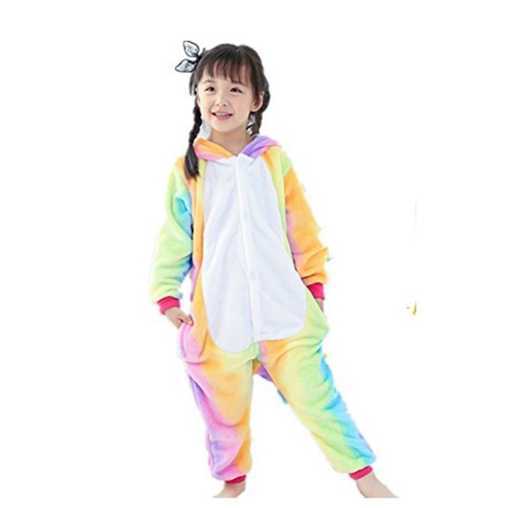 Rainbow Fox Boys Girls Animal Unicorn Pegasus Pajamas Jumpsuits Kids Cartoon Cosplay Clothes Suitable for Child Lower Than 140cm in Height