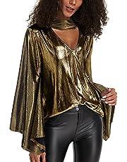 YOINS Sexy bovenstuk dames glitter bovendeel wetlook shirt met lange mouwen voor dames T-shirt V-hals clubwear partywear lederlook