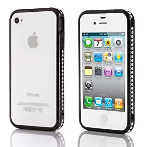 Iphone 4/4S Case,JiaFeng Newest Mutil Color Luxury Ultra Thin Metal Bumper Frame Case Cover for iPhone 4 4S, Diamond Slim Premium Protective Metal Cover Frame Case Blade with Aluminum Button (iPhone 4/4s--Black)