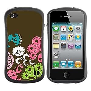 "Hypernova Slim Fit Dual Barniz Protector Caso Case Funda Para Apple iPhone 4 / iPhone 4S [Patrón Flores Marrón Rosa Verde""]"