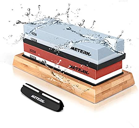 Meterk Piedra de Afilar, 400/1000 3000/8000 Grit Juego de Piedra de Afilar Cuchillos con Base de Bambú Antideslizante, Base de Goma Antideslizante y Guía de Angulo para Cocina