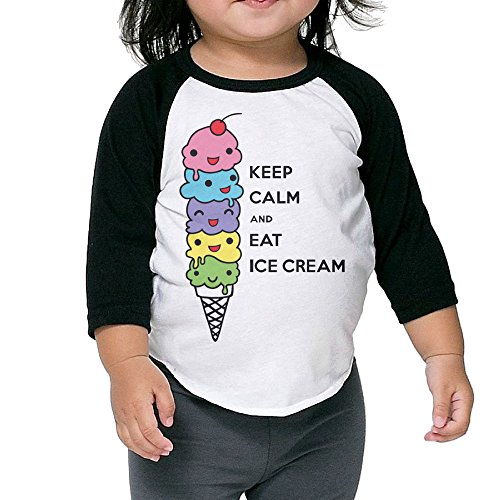 Lisenict Keep Calm And Eat Ice Cream Child 3/4 Sleeve Tee Size4 (Flyers Halloween Costumes)