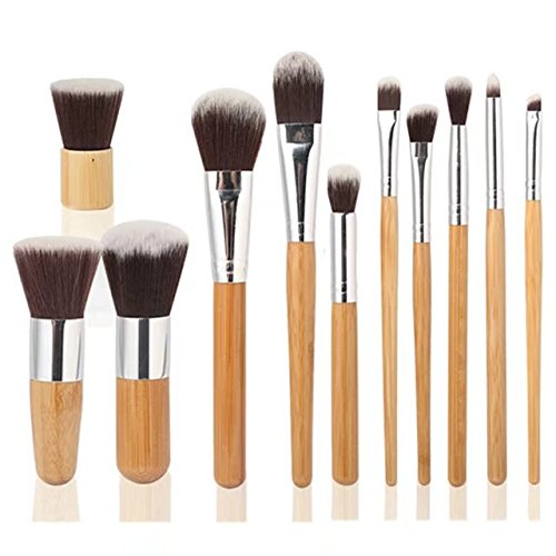Garrelett 11 Pcs Makeup Brush Set Soft Fiber Bamboo Cosmetic Brushes Kit Kabuki Powder Foundation Brush Blusher Tools + - Mall White Mash