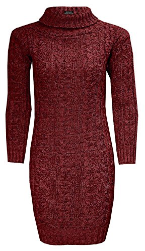 2046a658c2c RIDDLED WITH STYLE ™® Womens Cable Knitted Polo Roll Neck Jumper ...