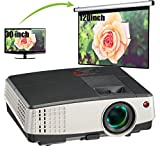 Portable Mini Video Projector LED LCD Home Theater Projector Multimedia HDMI USB Support 1080P 720P Indoor Outdoor use for Blu-ray, DVD, Laptop, iPhone Mac Game Console