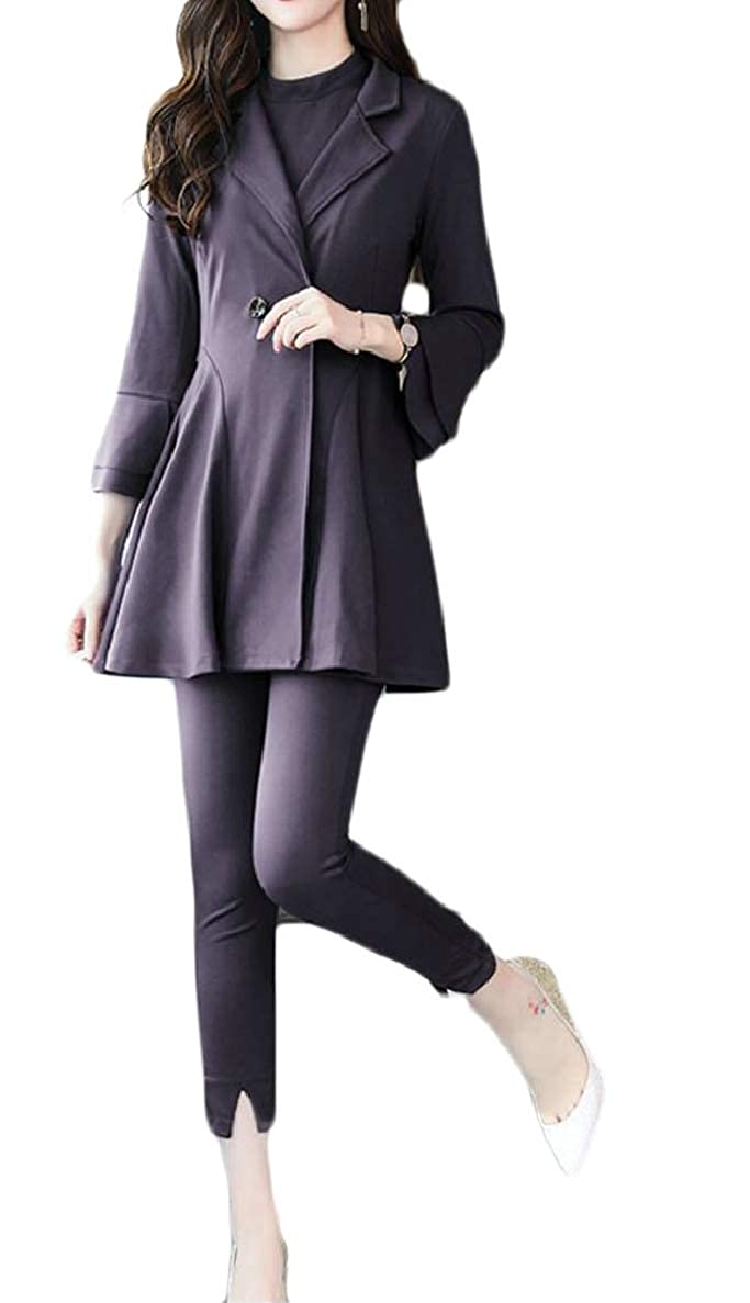 ONTBYB Women Fashion Open Front Cardigan and Short Sleeve T-Shirt + Pants Sets