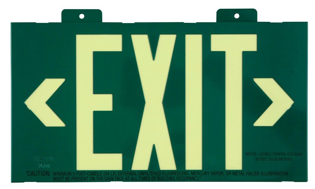 Jessup Glo Brite 7021-B 8-Inch by-15-Inch Single Face Non Electrical, Glow-in-the-dark (Photoluminescent) Eco Exit Sign with Bracket, Green