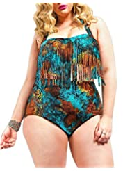 Kisstyle Women's Plus Size Pad Tassel Print High Waist Two Piece Swimsuits