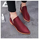 vermers Clearance Fashion Shoes for Women - Ladies Martin Boots with Pointed Toes and Bare Heels High Heel Boots(US:7, Red)