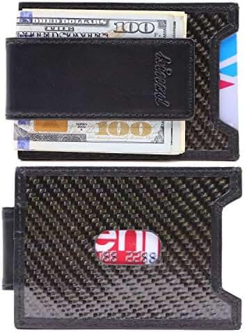 Kinzd Mens Slim Money Clip front Pocket Wallet, Carbon Fiber RFID Card Holder