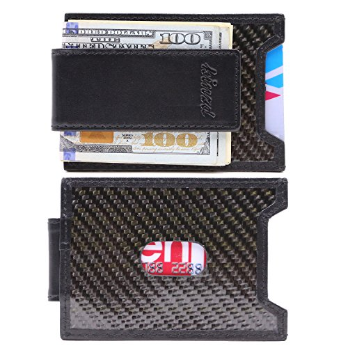 Kinzd Mens Slim Money Clip front Pocket Wallet, Carbon Fiber