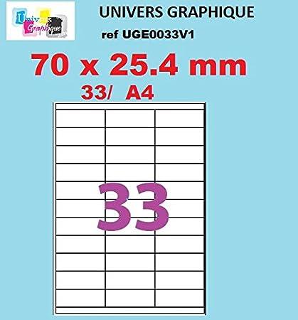 20 A4 hoja 33 pegatina 70 x 25,4 mm etiqueta adhesiva ...