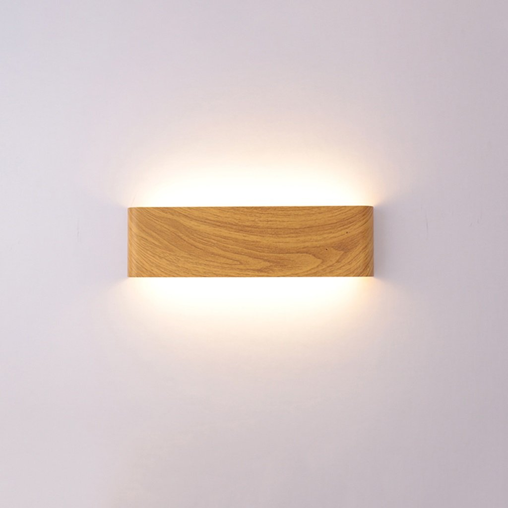 & Wandleuchten Wandleuchte Schlafzimmer Nachttisch LED Wandleuchte Wohnzimmer Flur Treppe Holzfarbe Wandleuchte Einfache moderne rechteckige Wandleuchte (Farbe   A)