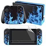 eXtremeRate Full Set Faceplate Skin Decal Stickers for Nintendo Switch with 2Pcs Screen Protector (Console & Joy-con & Dock & Grip) (Blue Flame)