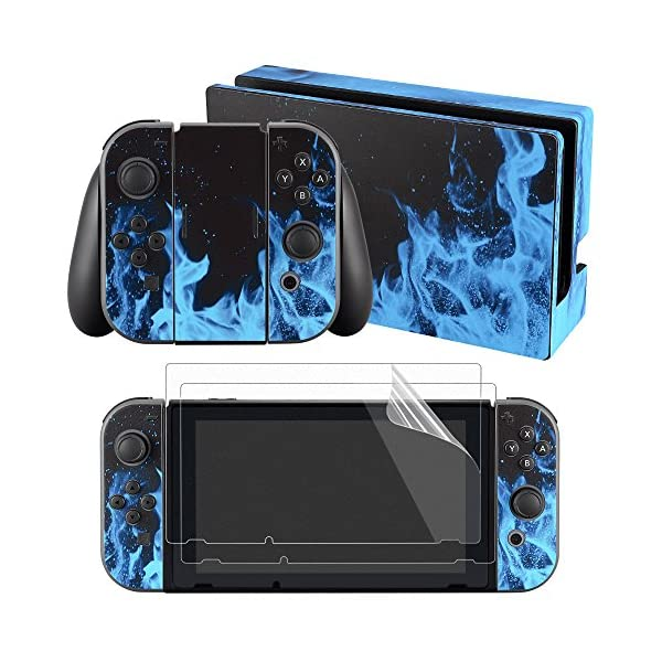 eXtremeRate Full Set Faceplate Skin Decal Stickers for Nintendo Switch with 2Pcs Screen Protector (Console & Joy-con & Dock & Grip) (Blue Flame) 1